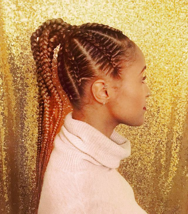 Cornrowed High Ponytail