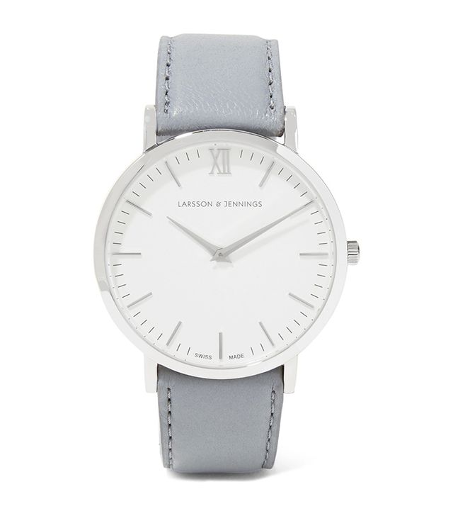 Lugano Leather And Stainless Steel Watch