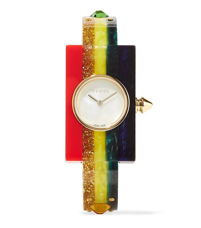 Embellished Plexiglas And Gold-tone Watch