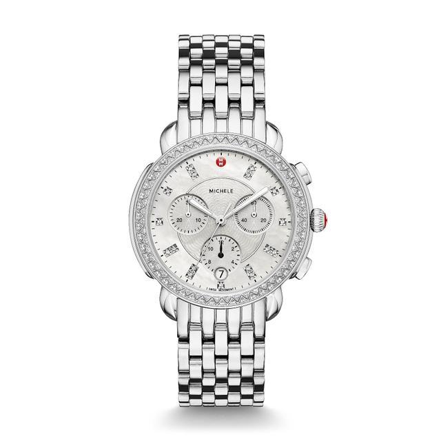 Women's Michele Ascalon Diamond Dial Chronograph Watch Head & Bracelet