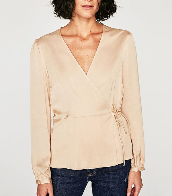 LONG SLEEVE CROSSED FRONT BLOUSE
