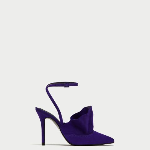 Ruffled Leather High-Heel Shoes