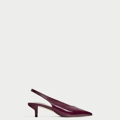 Slingback Leather High-Heel Court Shoes