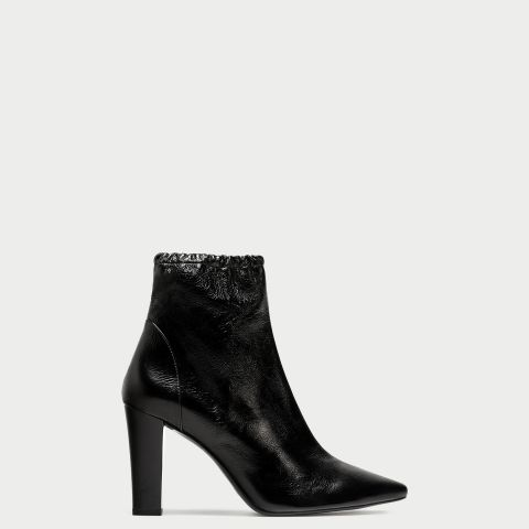High-Heel Pointed Leather Ankle Boots