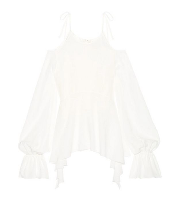 Goen J Asymmetric Cold-Shoulder Ruffle-Trimmed Silk-Chiffon Top