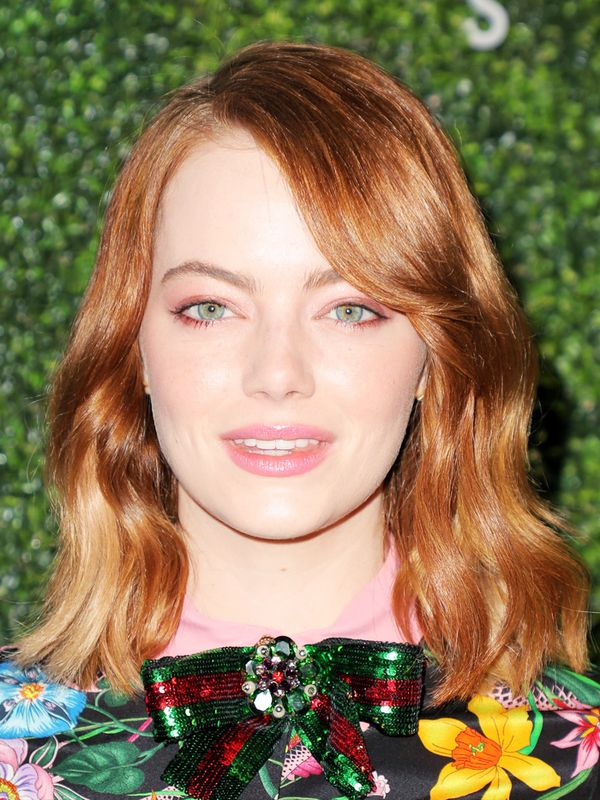 Shoulder-Length Hairstyles: Emma Stone With a Side Fringe