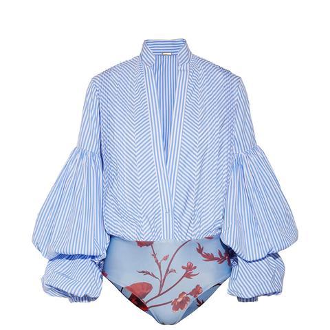 Penny Striped Cotton-Blend and Stretch-Jersey Bodysuit