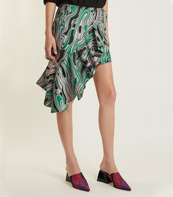 Asymmetric lava-jacquard mini skirt