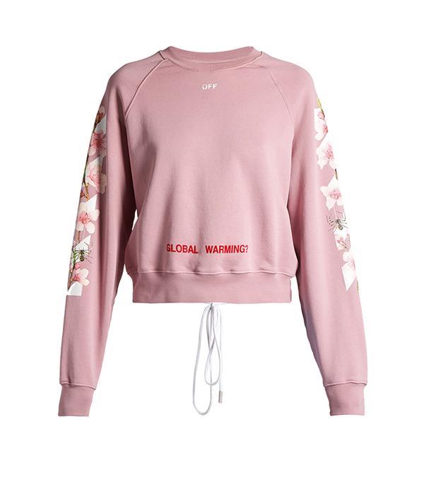 Floral-print cropped sweatshirt