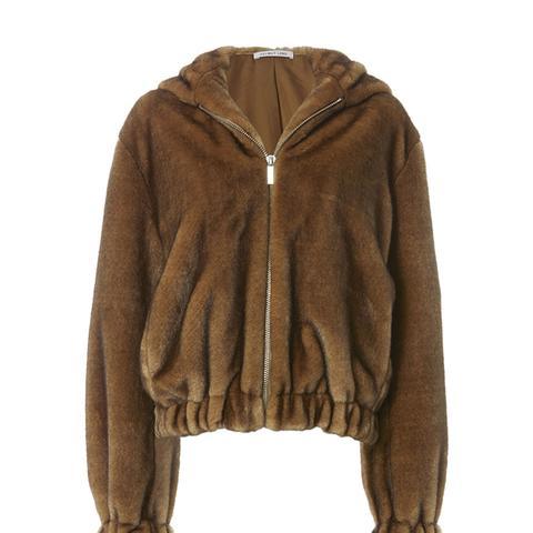 Furry Hooded Bomber Jacket