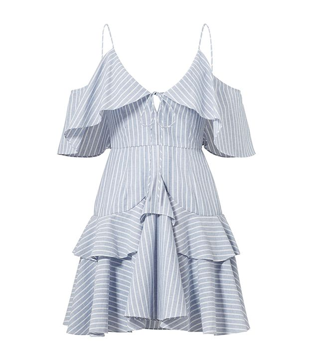 Nicholas Blue Striped Astrid Ruffle Dress