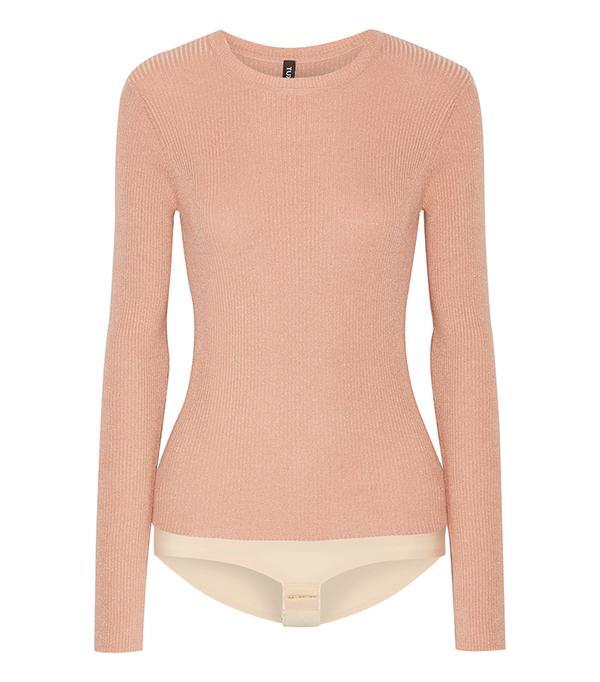 Pacesetter Metallic Ribbed-knit Bodysuit