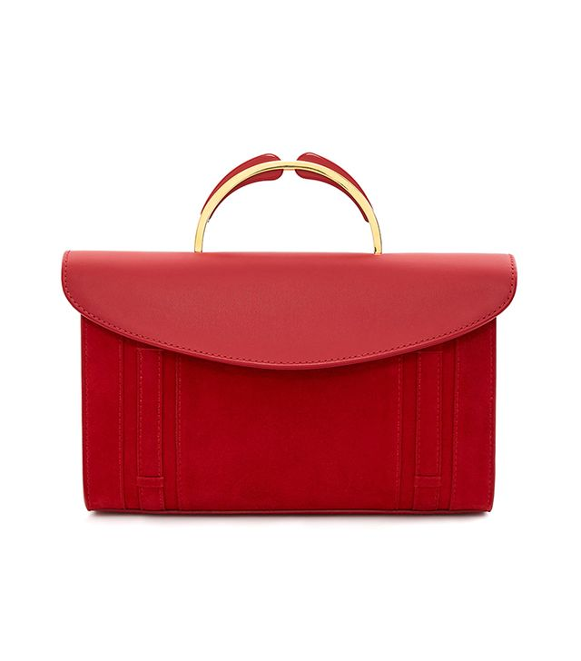 Mansur Gavriel Suede Resin Handle Satchel