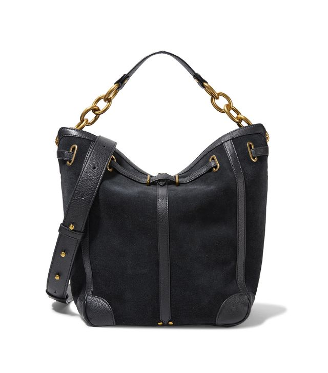 Tanguy Textured Leather-trimmed Suede Shoulder Bag