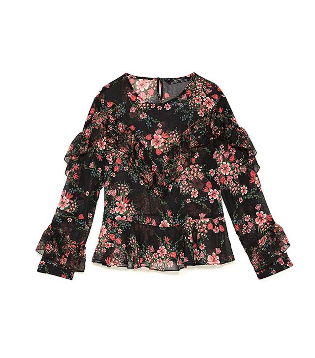 Zara Flowing Blouse With Frills