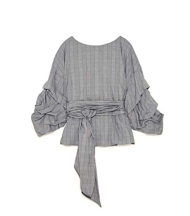 Zara Checked Wrap Blouse