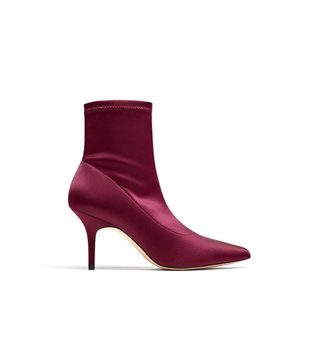 Zara High Heel Satin Ankle Boots