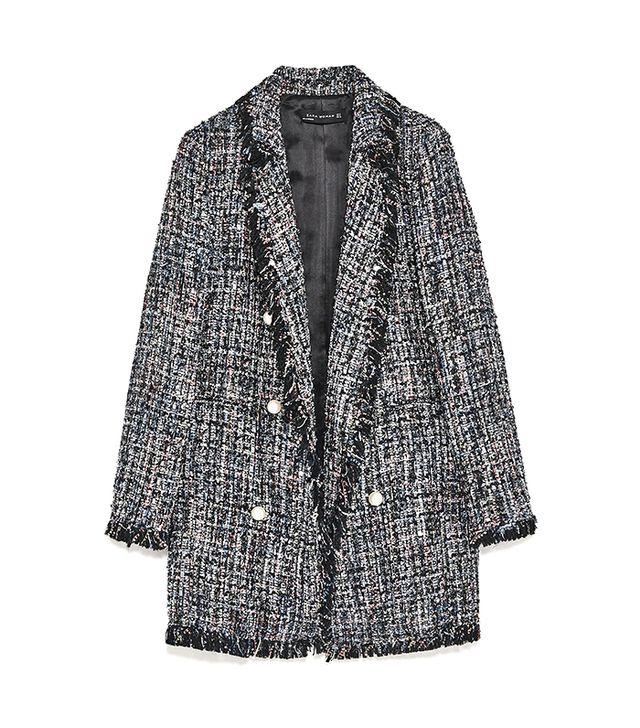 Zara Tweed Jacket With Faux Pearl Button