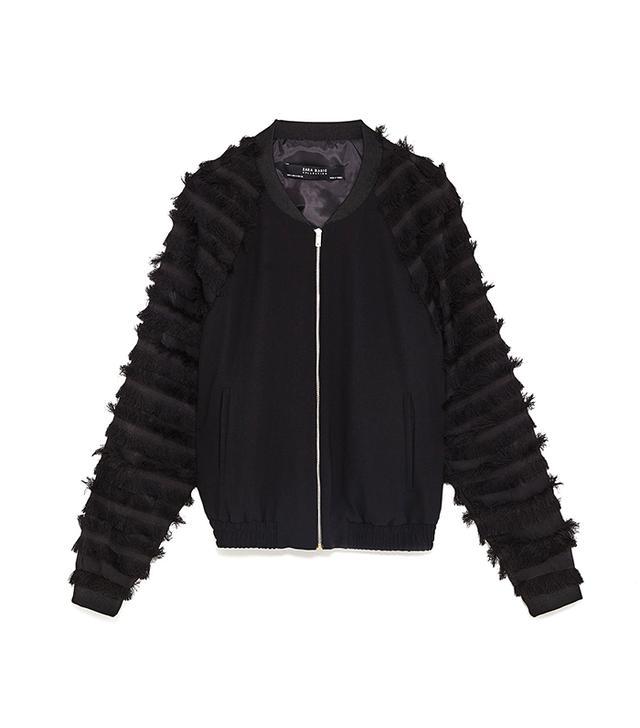 Zara Bomber Jacket With Fringe