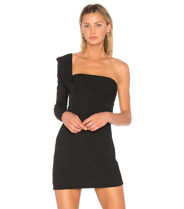 One Shoulder Mini Dress in Black. - size 0 (also in 1)