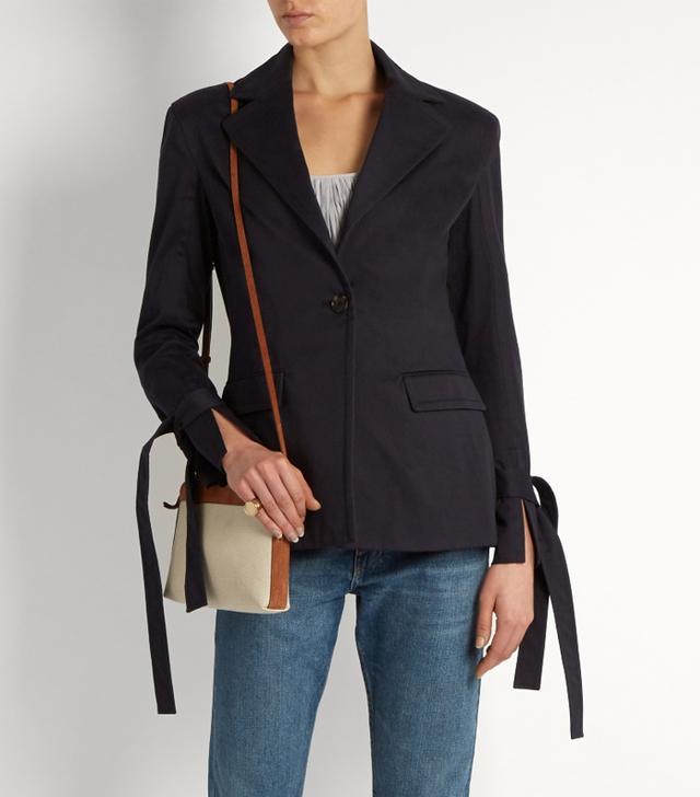 Jadine single-breasted cotton-drill blazer