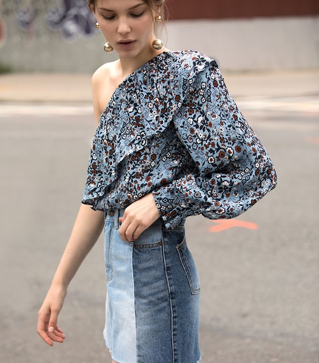 Pixie Market One Sleeve Floral Ruffled Top