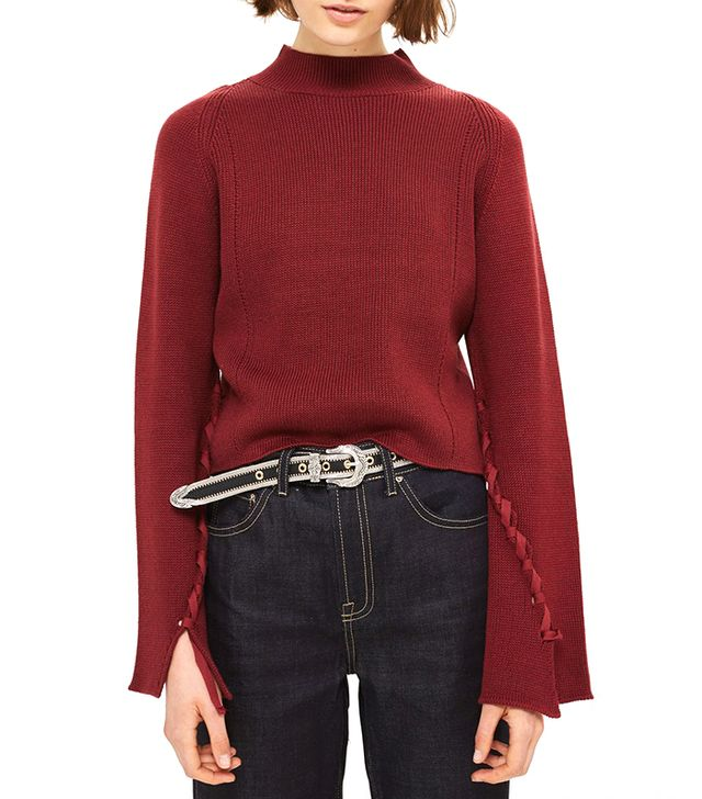 Topshop Funnel Neck Lattice Front Knitted Top