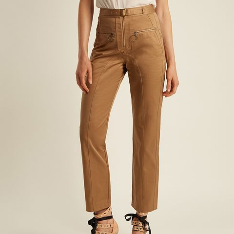 High-Rise Cotton Straight-Leg Trousers