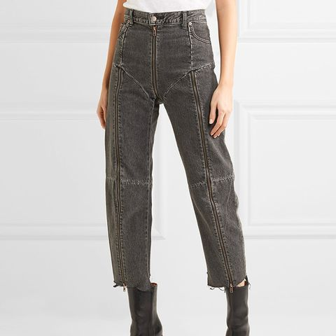 Levi's Distressed Zip-Detailed High-Rise Straight-Leg Jeans