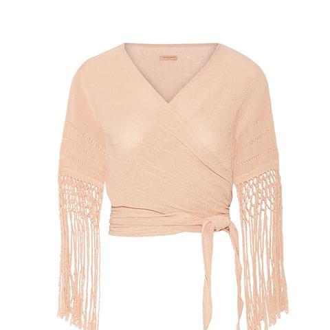 Luum Fringed Basketweave Cotton Wrap Top
