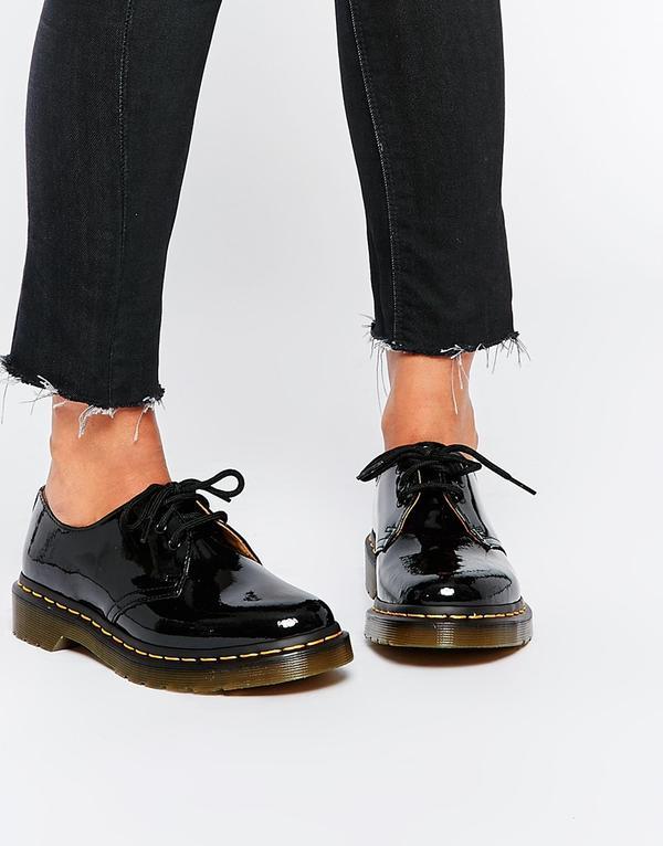 1461 Classic Black Patent Flat Shoes