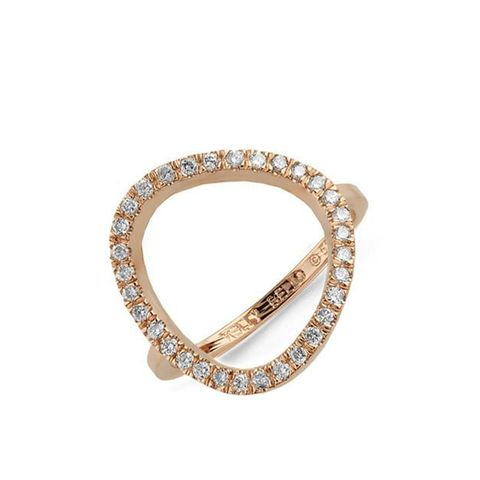 Rounded Triangle Diamond Ring