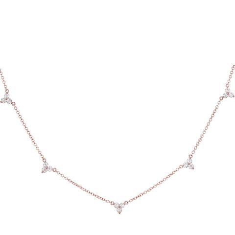 Triple Diamond Cluster Necklace