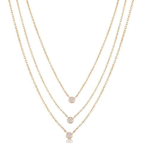 Triple Diamond Layer Necklace