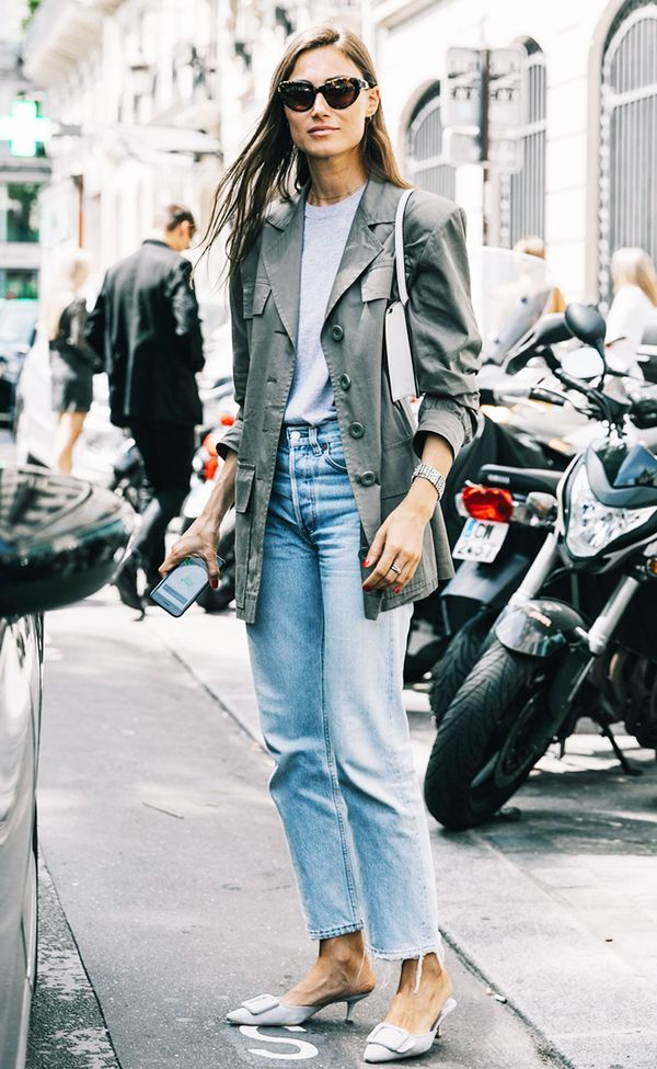 Instantly elevate the army jacket + jeans + T-shirt look with a pair of kitten heels and oversize sunglasses.
