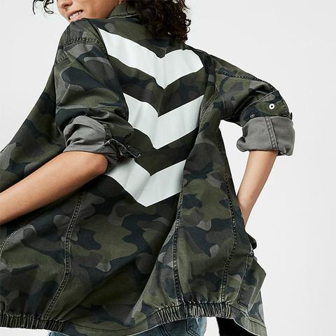 Oversize Chevron Camo Print Jacket