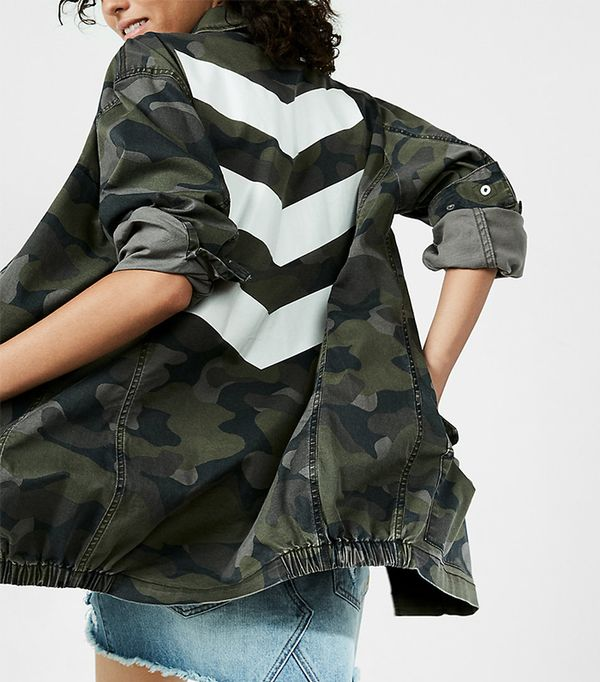 Oversized Chevron Camo Print Jacket