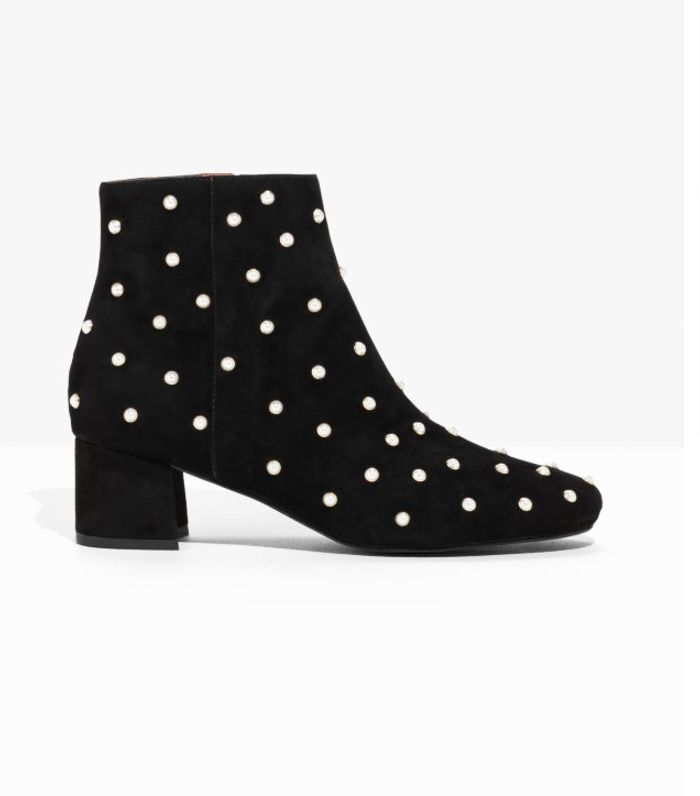 Best block heel ankle boot: & Other Stories pearl stud boots