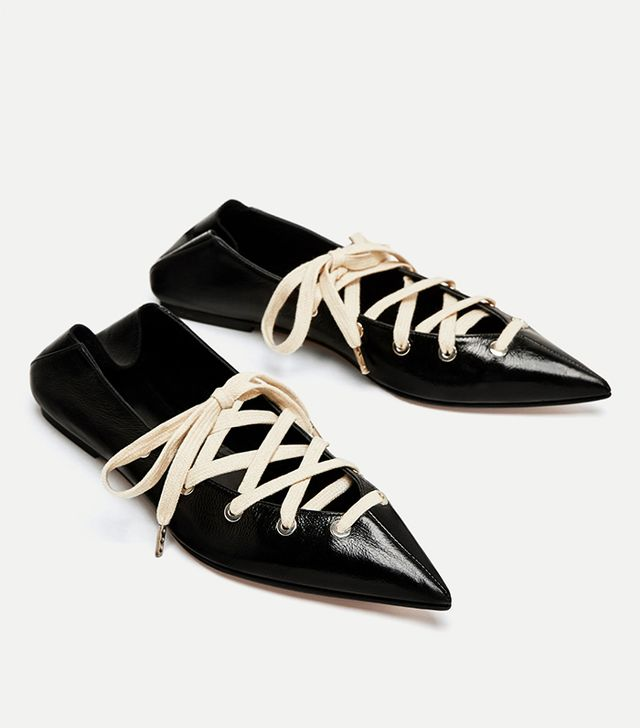 Zara Leather Mules Ballerinas With Laces