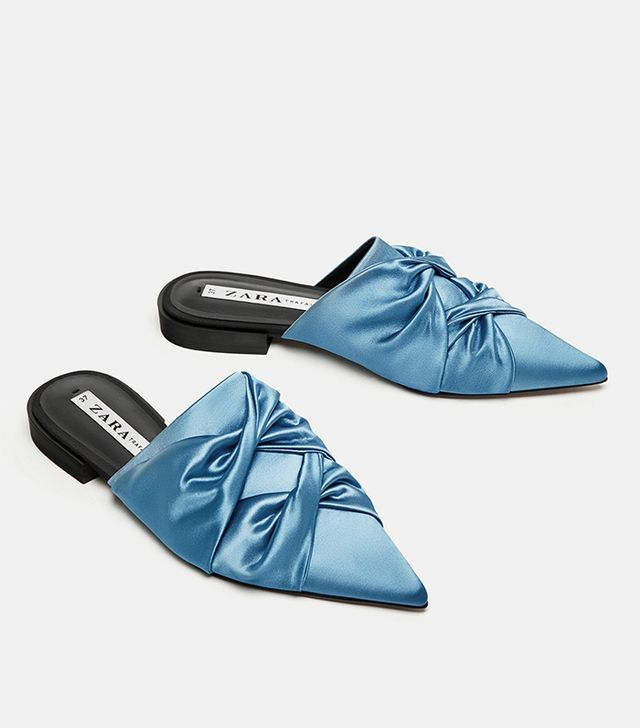 Zara Flat Gathered Mules With Pointed Toes