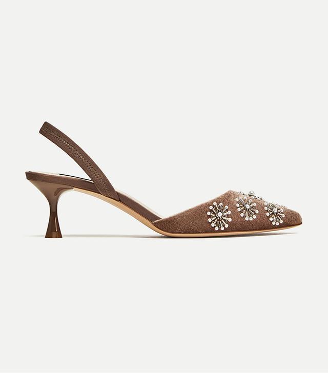 Zara Embroidered Velvet Slingback Shoes