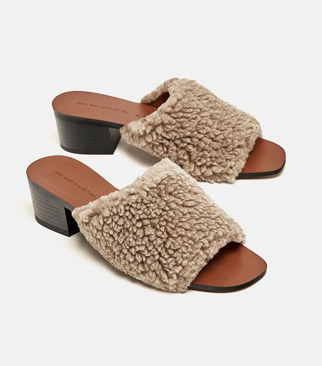 Zara Faux Fur High Heel Shoes
