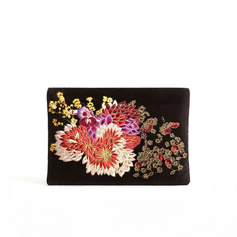 Flower Embroidered Velvet Clutch