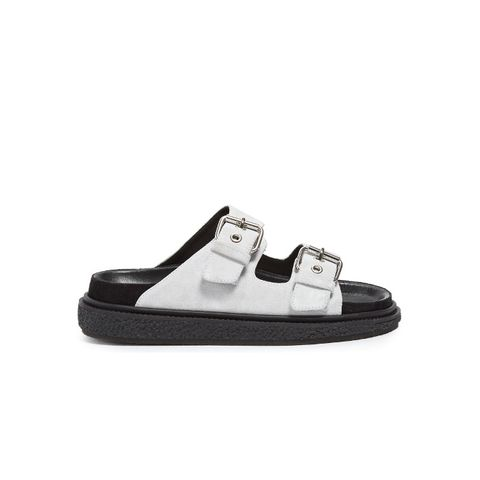 Ledkin Double-Buckle Suede Sandals