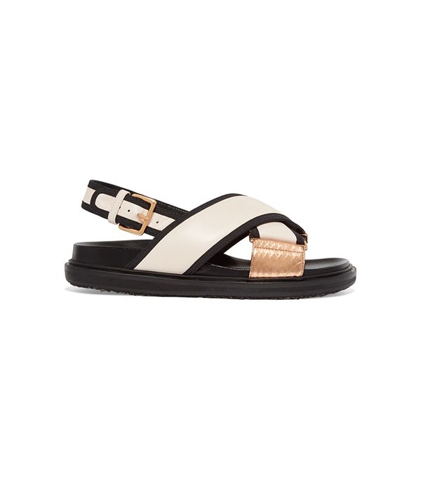 Canvas And Snake-trimmed Leather Sandals