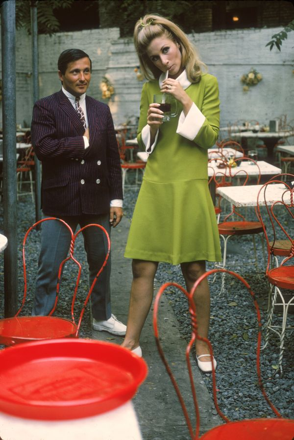 Baby Jane Holzer in Green Dress