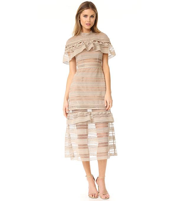 Yoke Frill Midi Dress