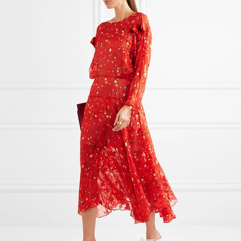 Andrea Printed Devoré Silk-Chiffon Midi Dress