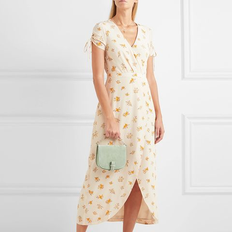 Magdalena Wrap-Effect Floral-Print Silk Crepe De Chine Dress