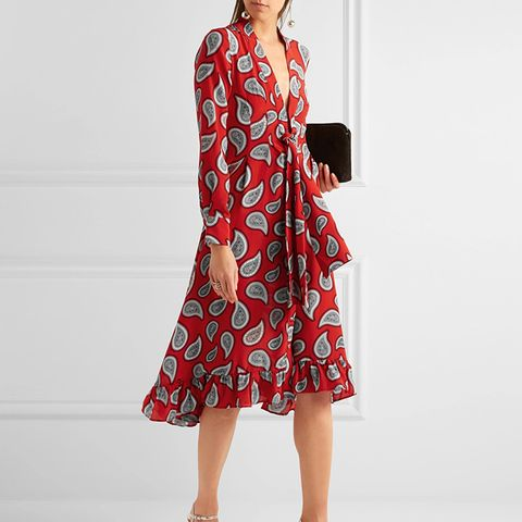 Lennon Paisley-Print Silk-Crepe Midi Dress